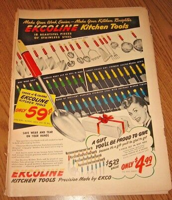 Full page color ad from magazine ~~  EKCOLINE KITCHEN TOOLS    ~~