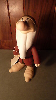 """Vintage Hand-Carved & Painted 10"""" Wooden Disney Snow White - Really Grumpy Dwarf"""