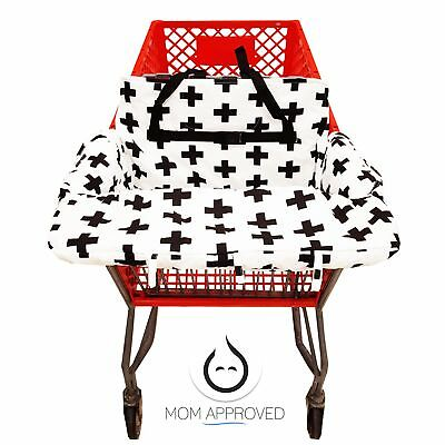 Kaydee Baby Shopping Cart Cover (Black and White Swiss Cross