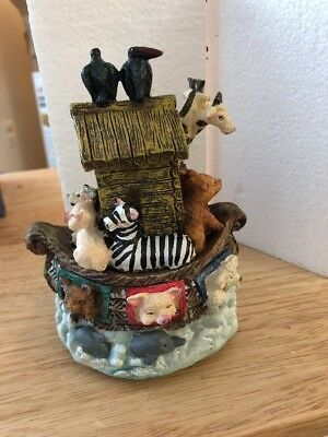 Noah's Ark Boat Music Box - Hand Painted - Plays Talk To The Animals