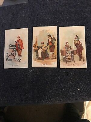 Three Victorian Trading Cards Country Series Singer Manufacturing Company