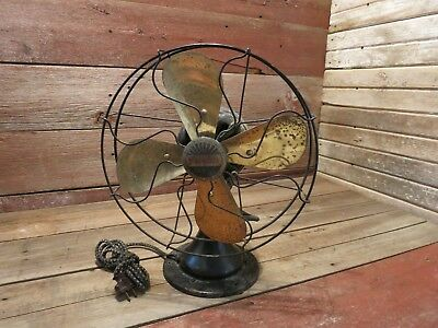 Vintage Antique PEERLESS 6 INCHES Fan Brass Blade Stationary All Speeds Work!