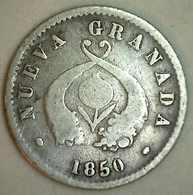 1850 Colombia Silver Half Decimo Republicde Neava Bogata Mint Coin You Grade YG