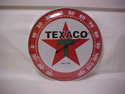 """Texaco Round 12"""" Glass Front Thermometer"""