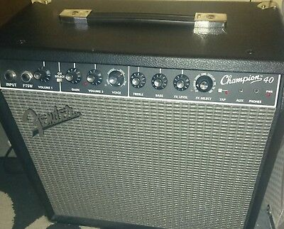 Fender Champion 40 guitar amp amplifier with two channels and built in effects