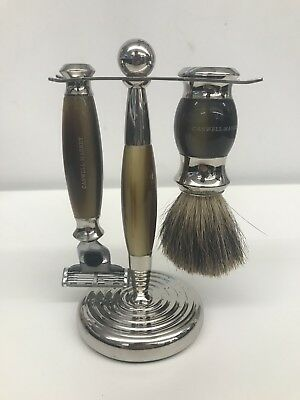 Caswell Massey Three-Piece Faux Horn Luxury Shaving Set