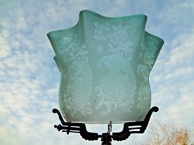 victorian acid etched glass kerosene oil comet fit gas lamp shade (small nic)