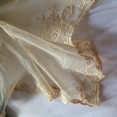 """ANTIQUE? vtg ivory tambour net lace bedspread cover crewel embroidery 103x74"""""""