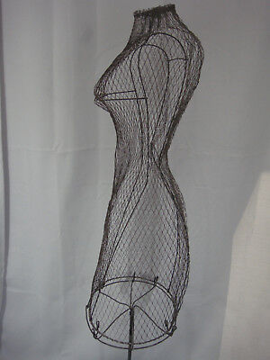 """***rare*** Antique Industrial Look Two-Piece 52"""" Tall Wire Female Mannenquin"""