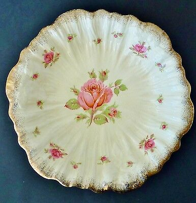 CROWN DUCAL roses large BOWL lots gold embossed