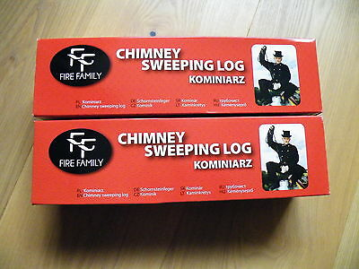 2x CHIMNEY CLEANING LOG SWEEPER FLUE SOOT and FIREPLACE CLEANER in RED BOX