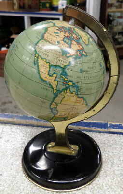 Vintage Pre WW2 Tin Litho World Globe - Bright Colors