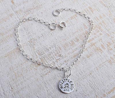Sterling Silver My Little Boy Circle Charm Ankle Chain Bracelet Anklet 925