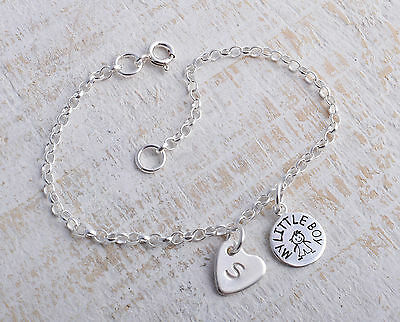 Sterling Silver My Little Boy & Personalised Heart Ankle Chain Bracelet Anklet