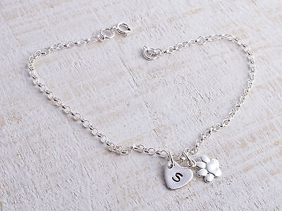Sterling Silver Paw Print & Personalised Heart Ankle Chain Bracelet Anklet 925