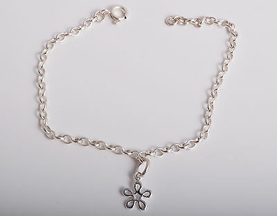 Sterling Silver Open Delicate Daisy Ankle Chain Bracelet Anklet 925