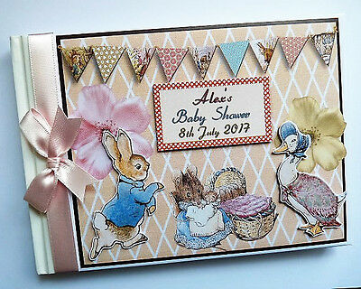Personalised Classic Peter Rabbit Girl Birthday / Baby Shower Guest Book