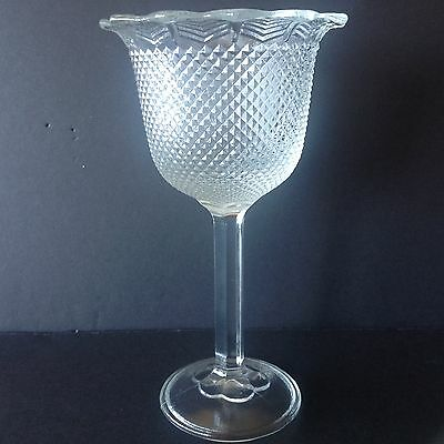 Unusual Depression Pressed Glass Tall Compote/Goblet Diamond Point Flared Top