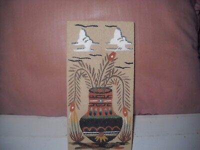 Vtg Navajo Sand Painting Unusual Style  Wedding Vase Signed  J. Curley