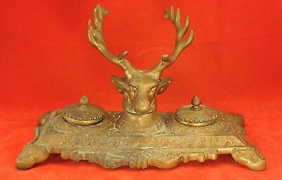 "Antique Bronze 9½"" Desk Double Inkwell - Figural Deer Head Antlers - Hunting"