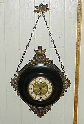 Antique French Hanging Chain Cartel Wall Clock 8-Day Jeweled Fancy Bird Ornament