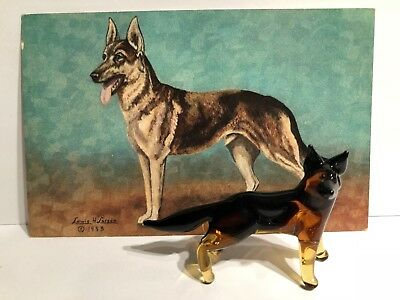Miniture Glass German Shepherd  Figurine with 1953 German Shepard Postcard