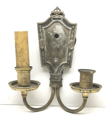 Antique Double Candle Stick Pot Metal Wall Sconce Lamp Light Parts Steampunk
