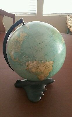 Antique Weber Costello Blue Ocean Airplane Base Globe 1940s