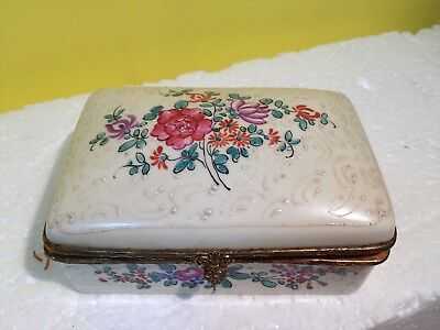 Beautiful Antique White Porcelain Floral Jewelry Box