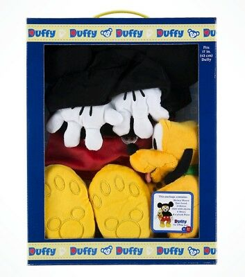 """Disney Parks Duffy Bear 17"""" Mickey Mouse Outfit with Pluto Plush Box Set Costume"""