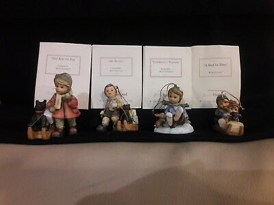 Hummel Holiday Christmas ornament lot with dogs and bunnies.