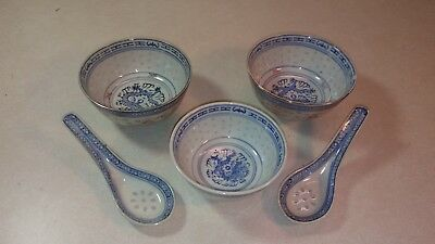 Chinese Set Of Three Rice Bowls And Two Spoons