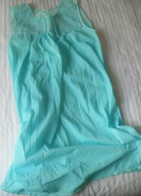 Nwot Vintage 1960's Mary Lyn Ladies Turquoise Blue Nylon Nightie Yoke Trim W
