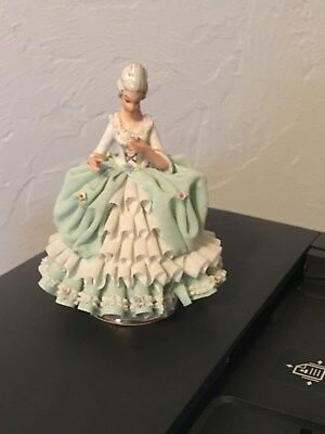 "Exquisite Sandizell Dresden ""refined Lady W/ Flower"" Porcelain Lace Figurine"
