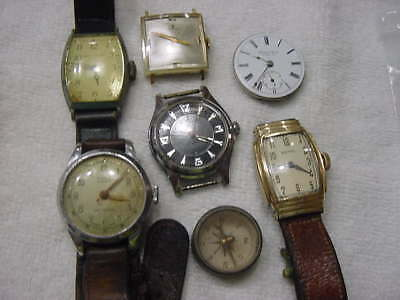 Lot of 6 Vintage large antique ART DECO + WWII mens watch watches  . NR
