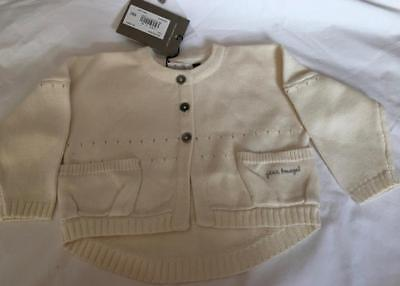 JEAN BOURGET - French Designer Baby Girls 6m Cream SUMMER Cardigan - NWT