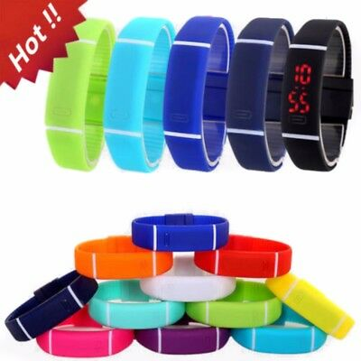 Mens Women Touch Screen LED Digital Silicone Sport Wrist Watch Bracelet Watches