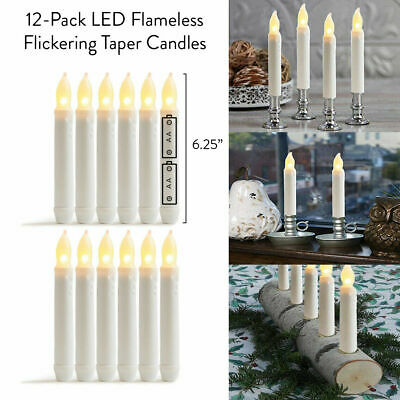 12pack Festival Flameless LED Tea Light Flickering Wax Dipped Candle Stick