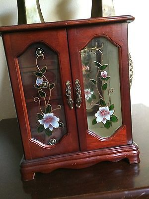 VTG Large Wood Wooden 1 Door/Glass Mirror 4 Drawer Jewelry Armoire Box Chest EUC
