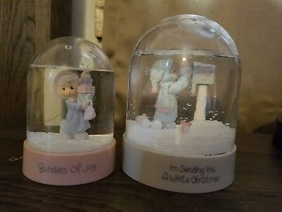 Precious Moments Snowglobes (2). Winter. Bundles of Joy. White Christmas