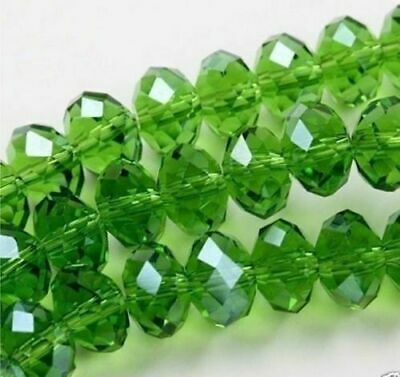 Diy Jewelry 205pc 6*8mm Faceted Rondelle glass crystal Beads green