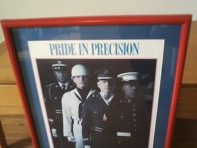 """US Military Drill Team Armed Forces Wall Print Art """"PRIDE IN PRECISION"""" 28""""x22"""""""