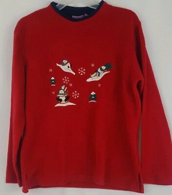 Woman's Christmas Sweater Large Premier International Red  Pull Over Fleece