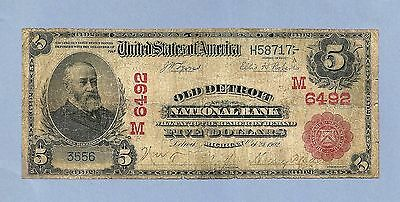 1902 Old Detroit National Bank # 6492-M RED Seal $ 5 National Bank Note
