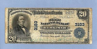 1902 $ 20 Charter 3183 1st National Bank of Herkimer New York Very Good