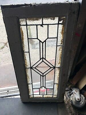 Lot Of 9 Matching Diamond Geometric Heavy Beveled Windows From Old Mansion 1900