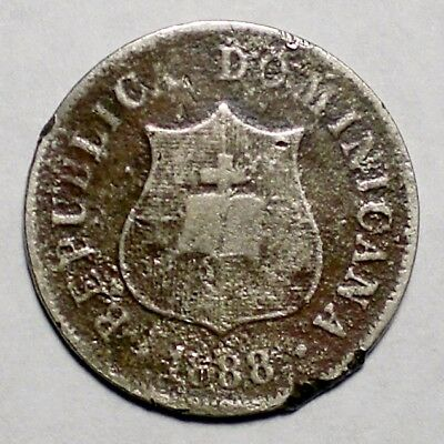 1888 Dominican Republic 2 1/2 Centavos Coin