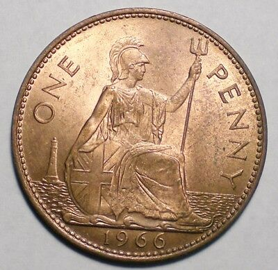 1966 Great Britain One Penny Coin UK
