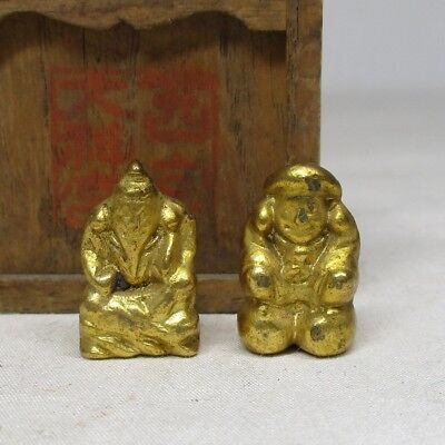 B613: Japanese very very small copper statue of God DAIKOKU and EBISU
