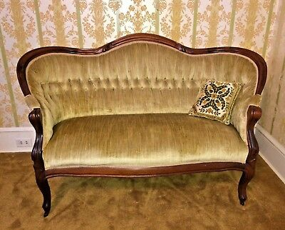 Beautiful Vintage Estate Mahogany Wood Settee Couch Sofa Loveseat On Casters